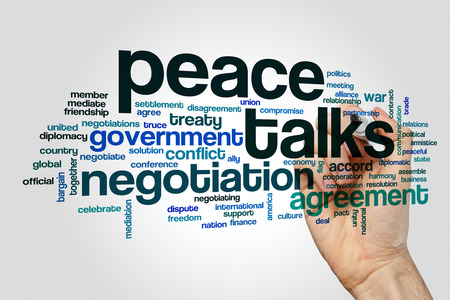 Peace talks word cloud concept on grey background
