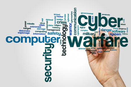 cyberwarfare: Cyber warfare word cloud concept on grey background.