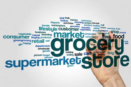 Grocery store word cloud concept on grey background