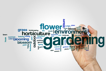 Gardening word cloud concept on grey background