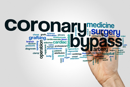 Coronary bypass word cloud concept on grey background. Banco de Imagens