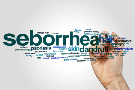 Seborrhea word cloud concept on grey background
