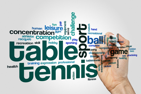 Table tennis word cloud on grey background