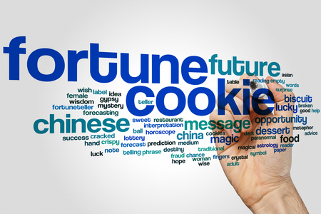 Fortune cookie word cloud concept on grey background