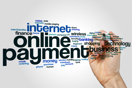 Online payment word cloud concept on grey background