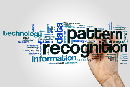 Pattern recognition word cloud concept on grey background