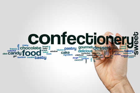 Confectionery word cloud concept on grey background.