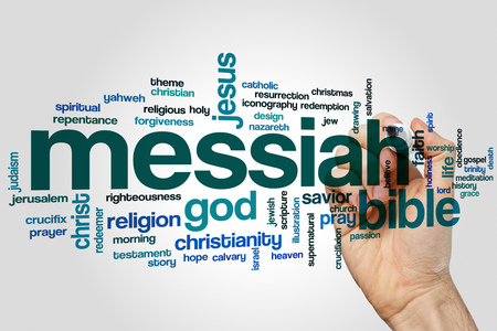 Messiah word cloud concept on grey background