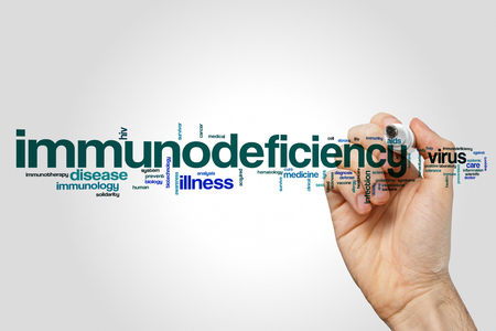 Immunodeficiency word cloud concept on grey background