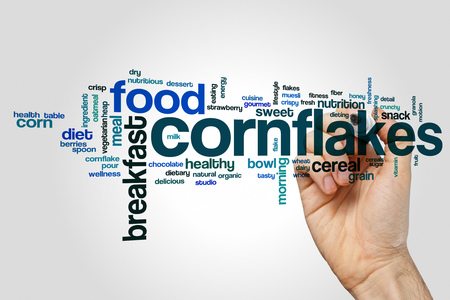 Cornflakes word cloud concept on grey background.