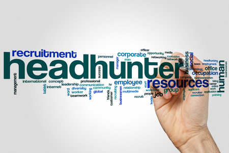 Headhunter word cloud concept on grey background Banco de Imagens