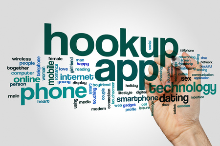 Hookup app word cloud concept on grey background