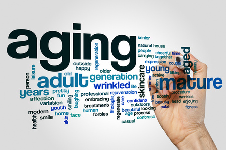Aging word cloud concept on grey background.