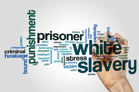 White slavery word cloud concept on grey background