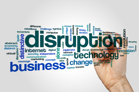 Disruption word cloud concept on grey background. Foto de archivo