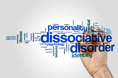 multiple personality: Dissociative disorder word cloud on grey background. Stock Photo