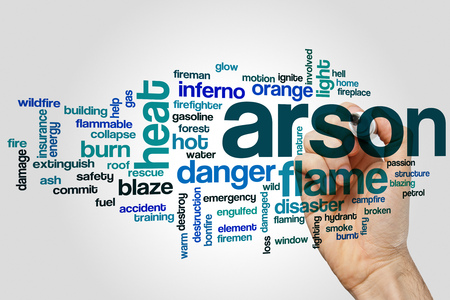 gas fireplace: Arson word cloud concept on grey background.