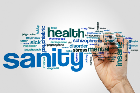 psychopathy: Sanity word cloud concept on grey background Stock Photo