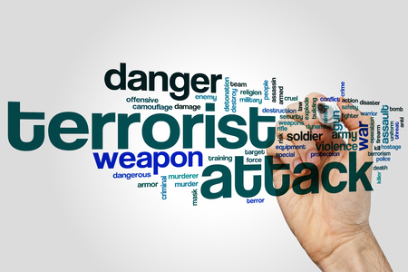 soldiers: Terrorist attack word cloud concept on grey background Stock Photo