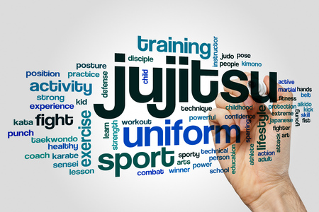jujitsu: Jujitsu word cloud on grey background