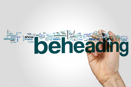 Beheading word cloud on grey background. Stock Photo