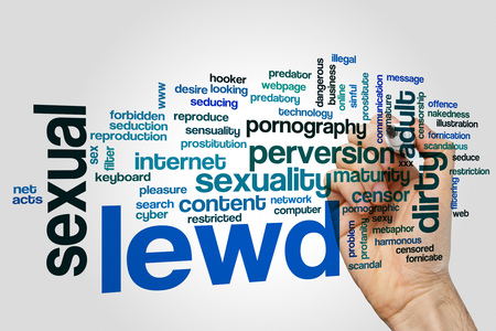 Lewd word cloud concept on grey background Stock Photo