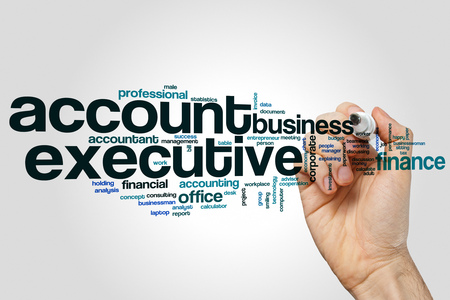 account executive: Account executive word cloud concept on grey background.