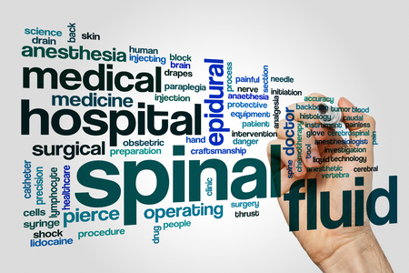 caudal: Spinal fluid word cloud on grey background