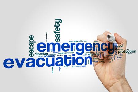 Emergency evacuation word cloud concept on grey background. Stock Photo