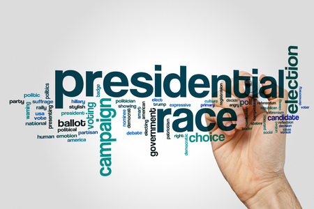 democrat party: Presidential race word cloud concept on grey background