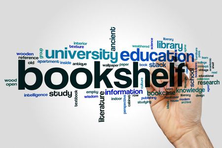 Bookshelf word cloud concept on grey background. Stock Photo