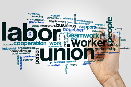 Labor union word cloud concept on grey background