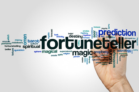 Fortuneteller word cloud concept on grey background Stock Photo