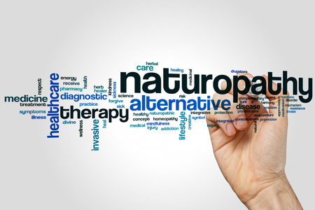 Naturopathy word cloud concept on grey background