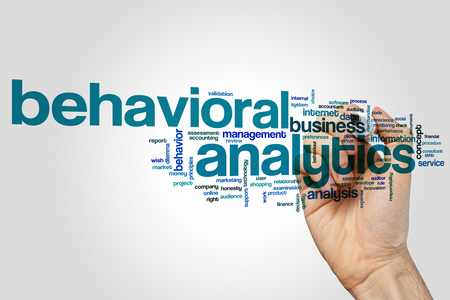 Behavioral analytics word cloud concept on grey background. Banco de Imagens