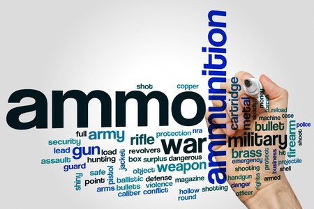 Ammo word cloud concept on grey background.