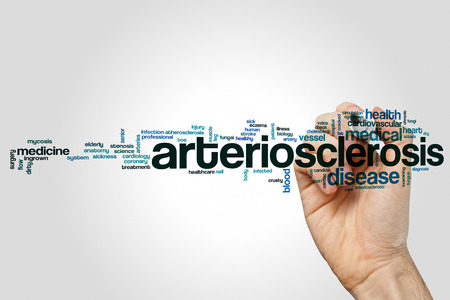 fungal disease: Arteriosclerosis word cloud concept on grey background.