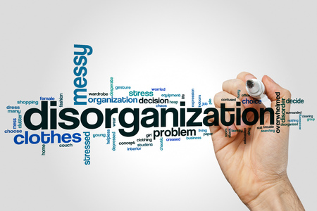 messy clothes: Disorganization word cloud concept on grey background. Stock Photo