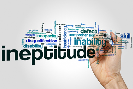 Ineptitude word cloud concept on grey background