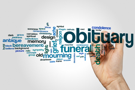 throe: Obituary word cloud concept on grey background