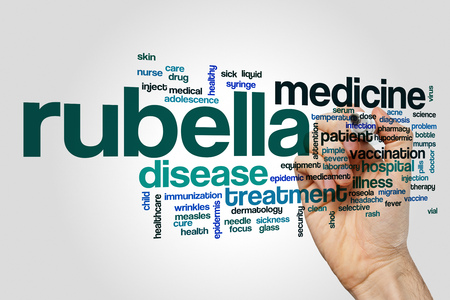 rubella: Rubella word cloud on grey background Stock Photo
