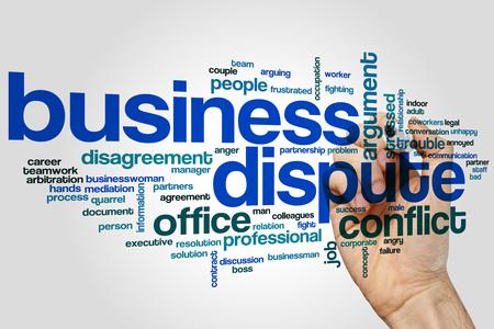 ビジネス紛争は、灰色の背景上のクラウドのコンセプトを単語。