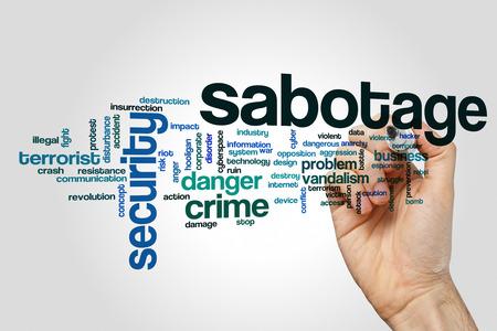 sabotage: Sabotage word cloud concept on grey background