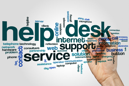 Help desk word cloud concept on grey background