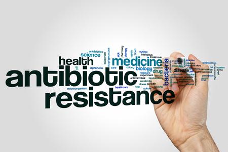 Antibiotic resistance word cloud concept on grey background. Zdjęcie Seryjne