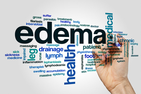 seeping: Edema word cloud concept on grey background.