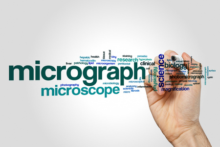 Micrograph word cloud concept on grey background