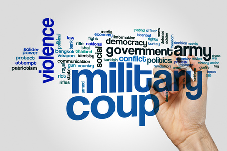 solider: Military coup word cloud on grey background