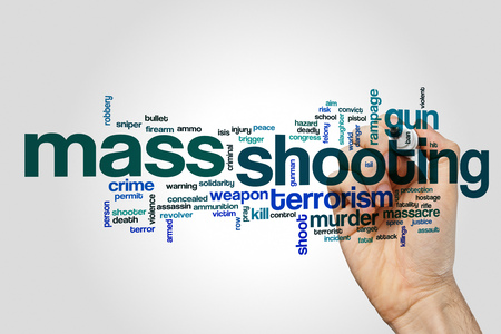 peace risk: Mass shooting word cloud on grey background