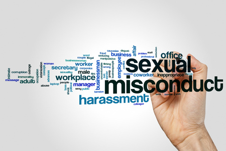 Sexual misconduct word cloud concept on grey background Archivio Fotografico